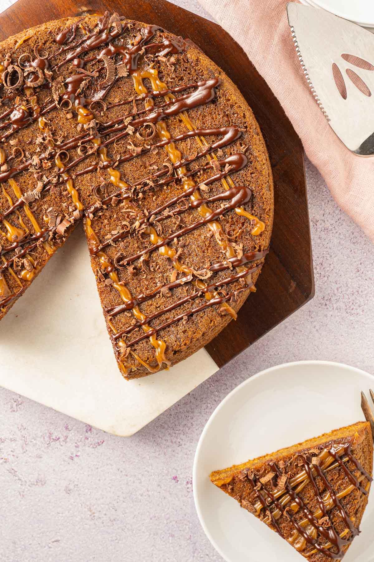 keto peanut butter cake on cake platter