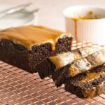 chocolate pumpkin cake w/pumpkin glaze on cooling tray