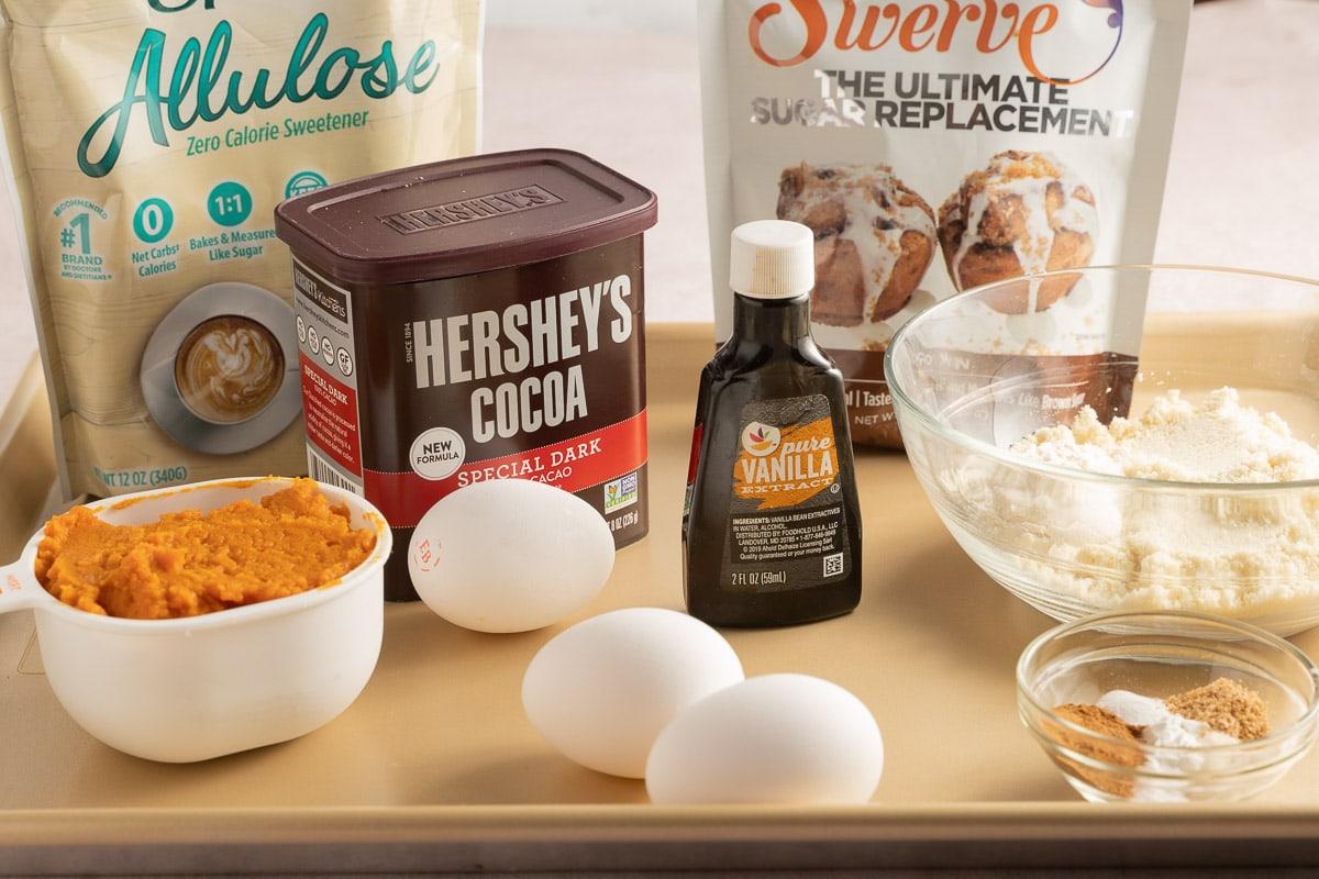 pumpkin puree, Allulose, Swerve, eggs, vanilla, cocoa powder, spices.