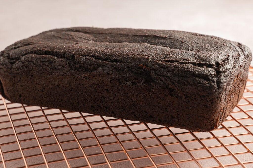 chocolate pumpkin bread on cooling rack.