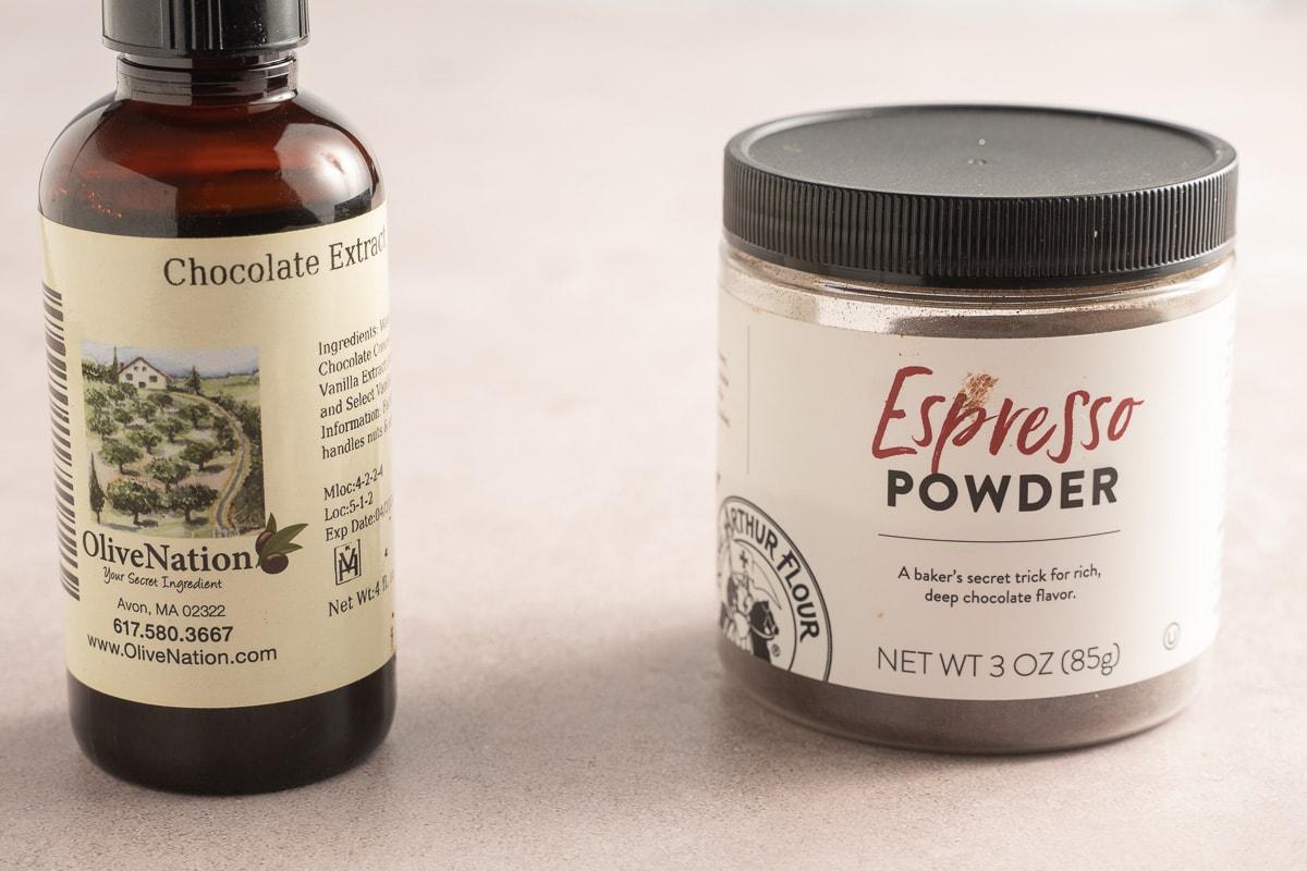 chocolate extract, espresso powder.