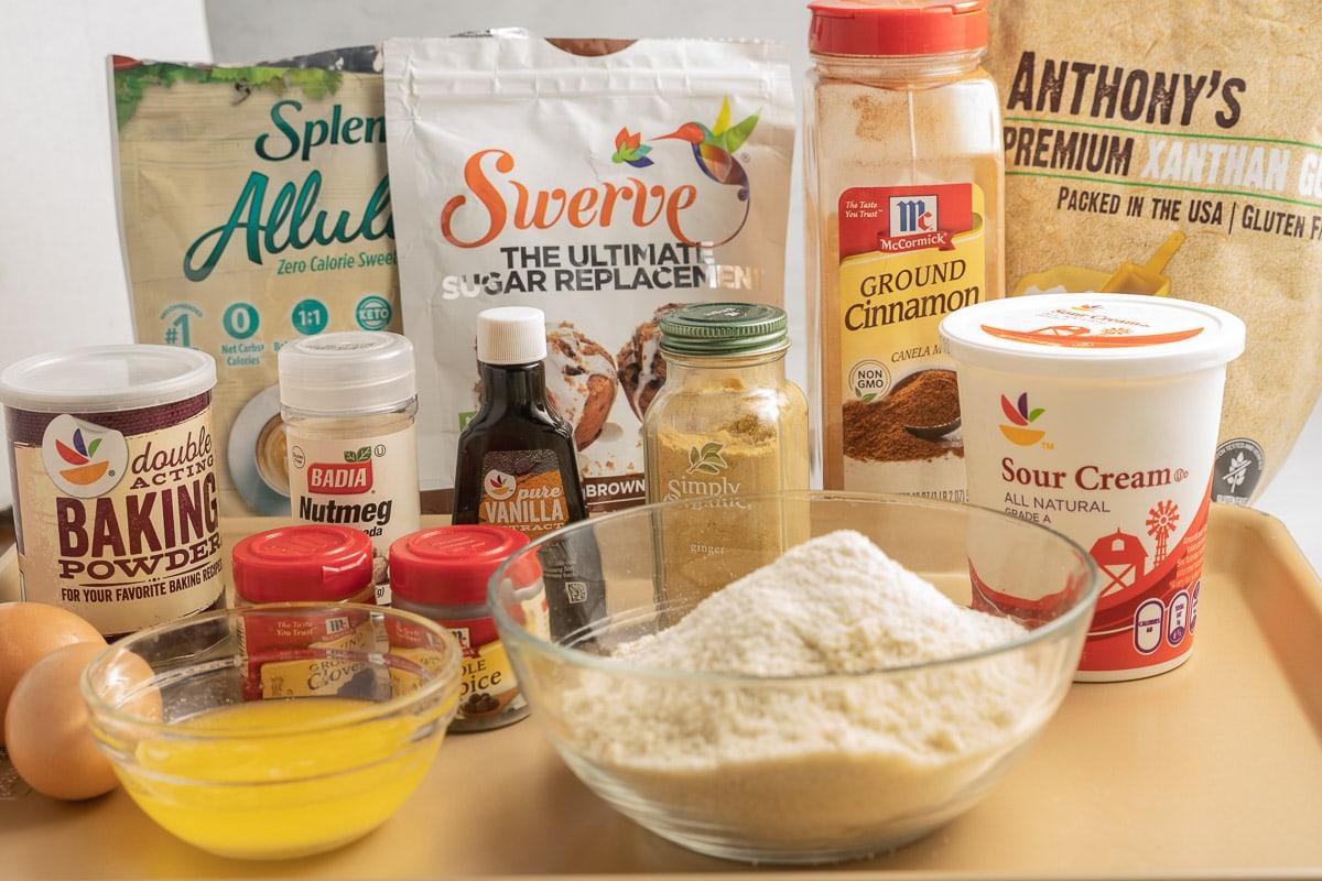 sugar substitute, cinnamon, ginger, almond flour, eggs, melted butter, sour cream