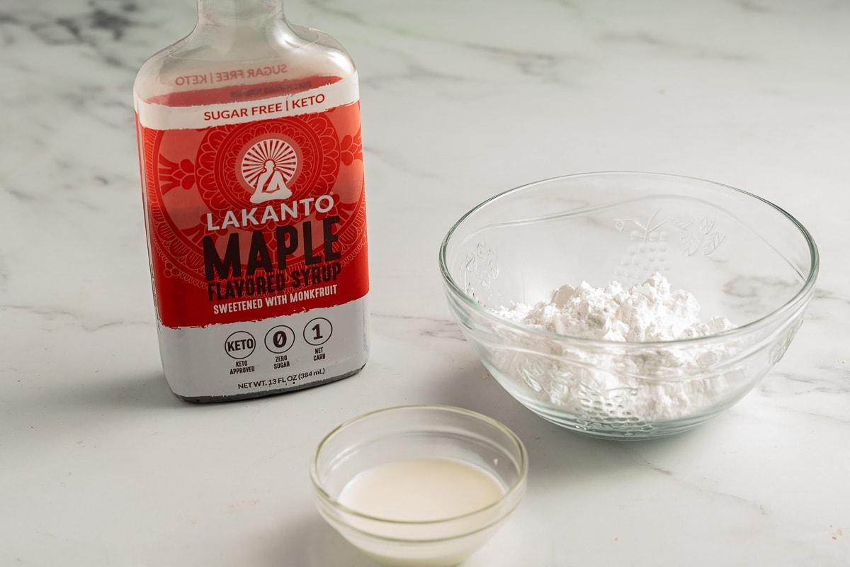 sugar free syrup, powdered sugar substitute, cream