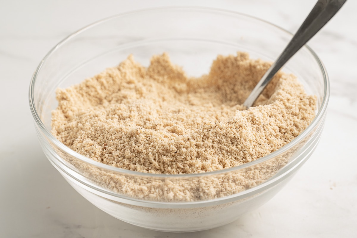 almond flour in glass bowl with spoon