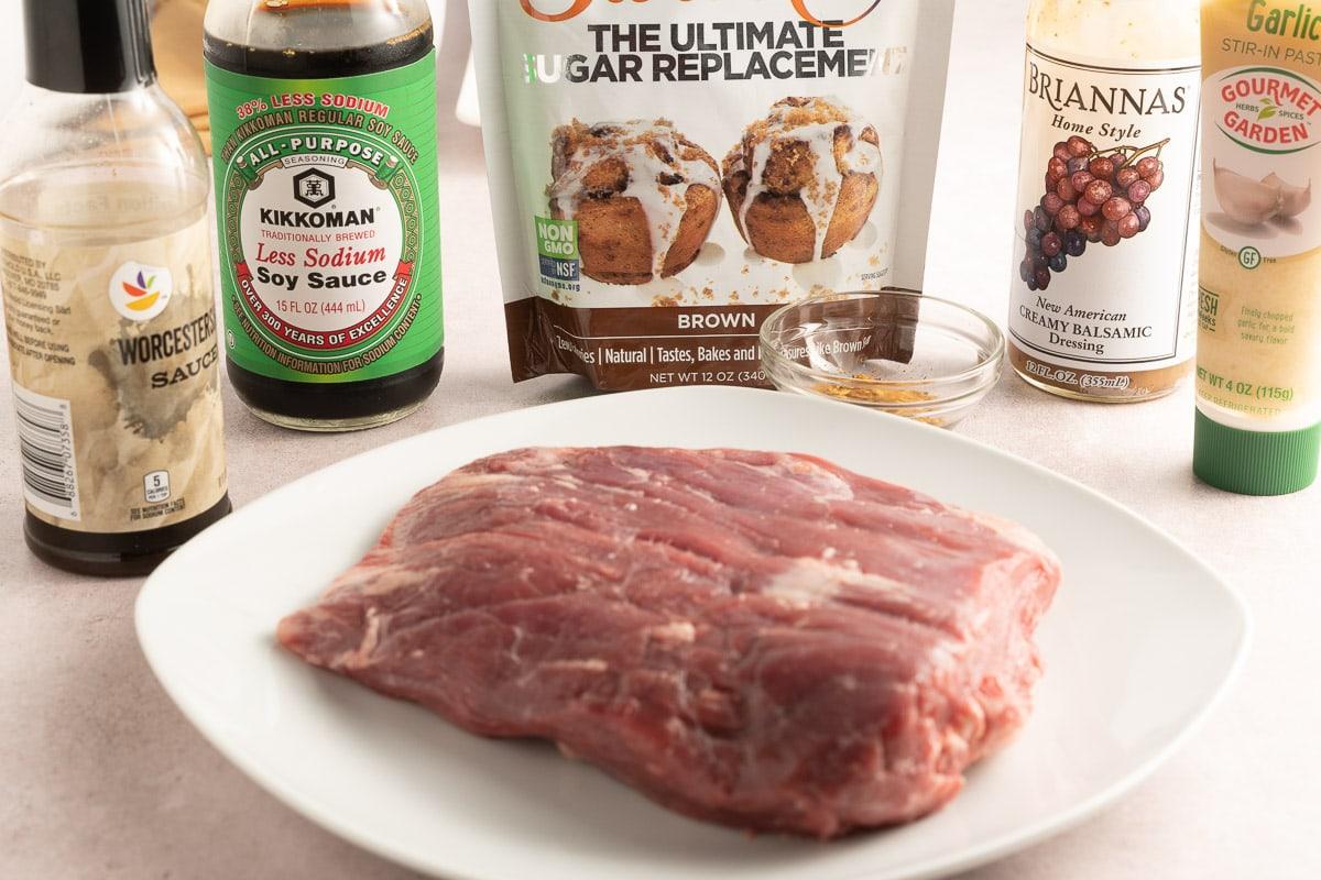 flank steak, soy sauce, balsamic vinegar, Swerve, Worceshire sauce,garlic.