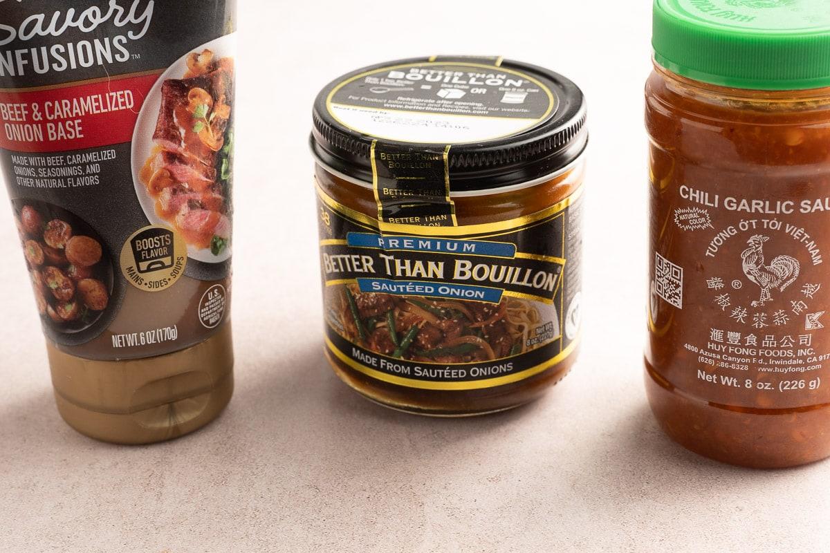 beef boullion, chili sauce.