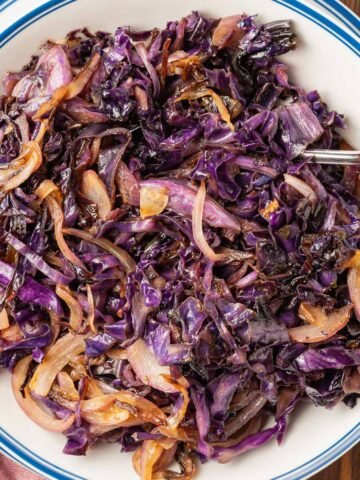red cabbage and onions on blue and white plate with spoon