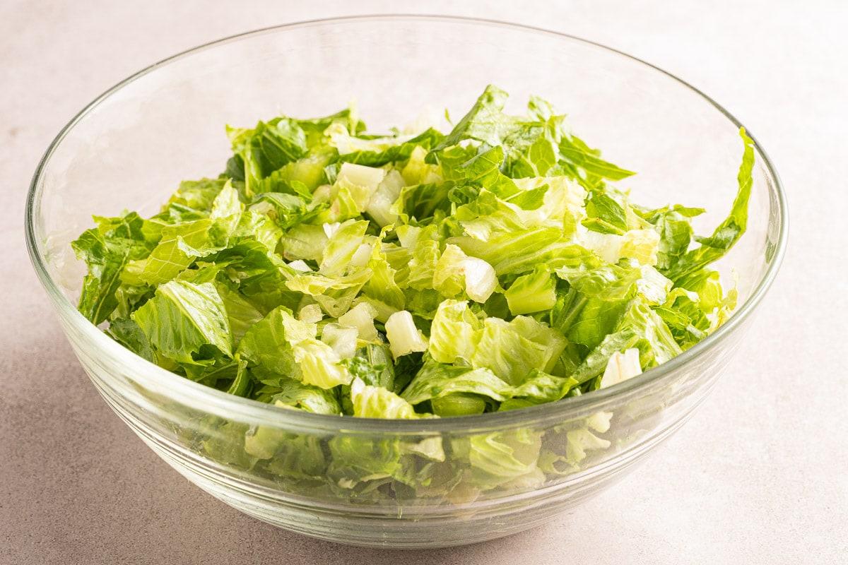 bowl of chopped Romaine lettuce.